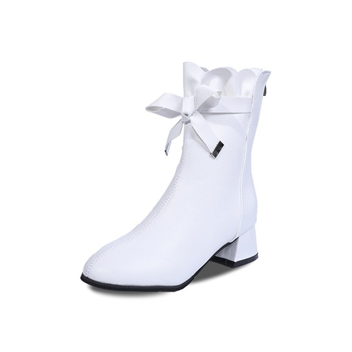 Round Toe Back Zip Chunky Heel Women's Ankle Boots