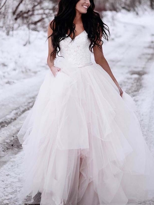 Button Ball Gown Straps Lace Outdoor Wedding Dress