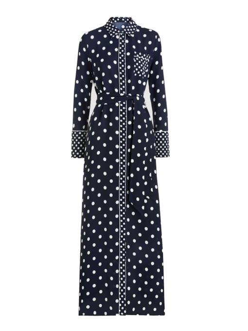 Bowknot Long Sleeve Polo Neck Polka Dots Women's Maxi Dress