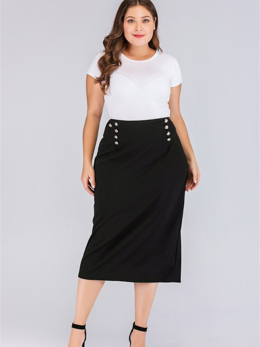 Plus Size Patchwork Mid-Calf High-Waist Women's Skirt
