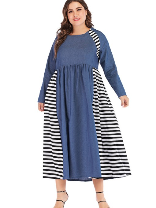 Plus Size Long Sleeve Round Neck Pullover Women's Maxi Dress