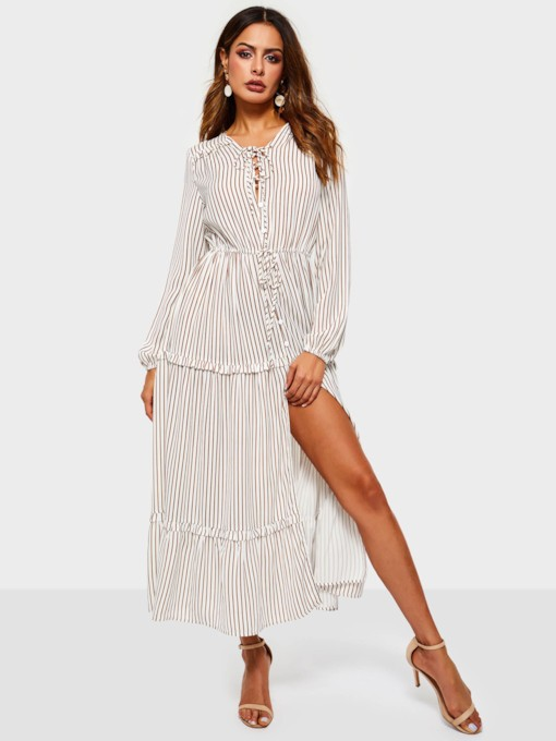 V-Neck Long Sleeve Stripe Split Women's Maxi Dress