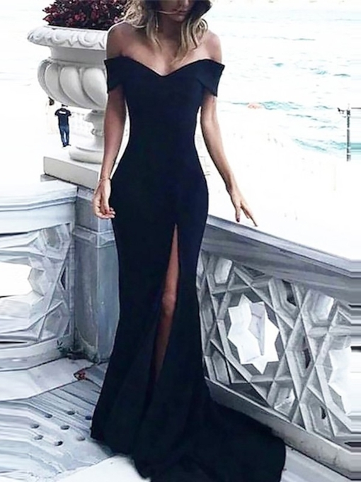 Trumpet Short Sleeves Court Floor-Length Evening Dress