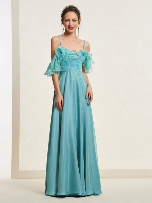 Spaghetti Straps Sleeveless Tiered Floor-Length Prom Dress