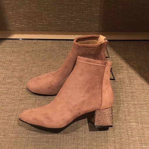 Round Toe Plain Chunky Heel Back Zip Rhinestone Exquisite Ankle Boots