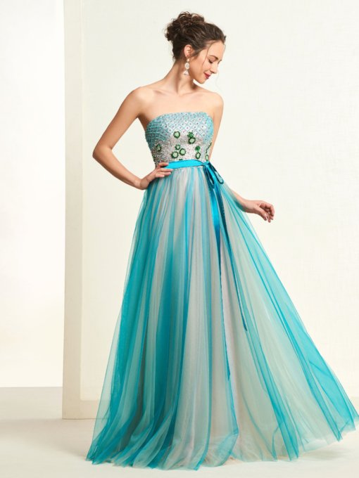 Strapless Beading Sashes Prom Dress 2019
