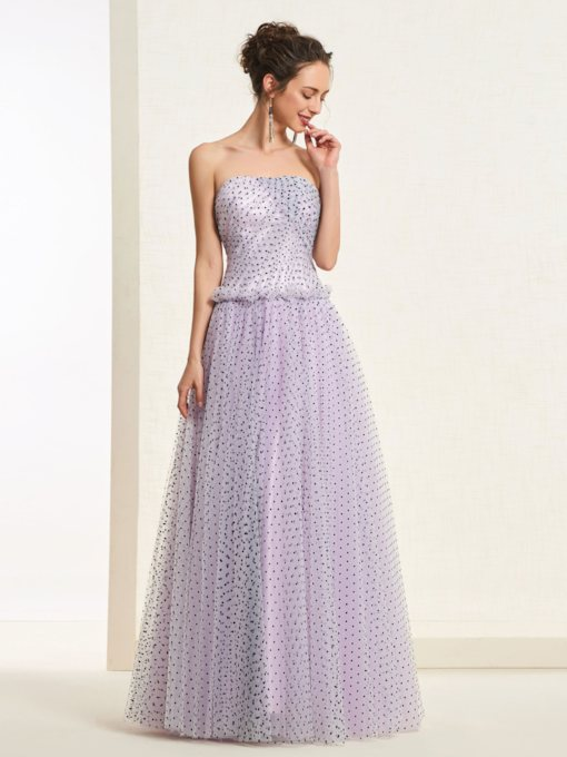 Floor-Length Strapless A-Line Sleeveless Prom Dress