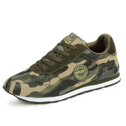 Low-Cut Upper Lace-Up Camouflage Round Toe Men's Sneakers