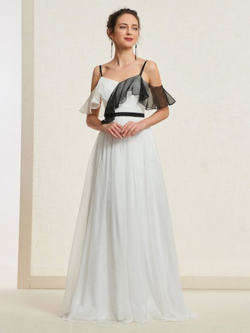 A-Line Floor-Length Sleeveless Ruffles Prom Dress