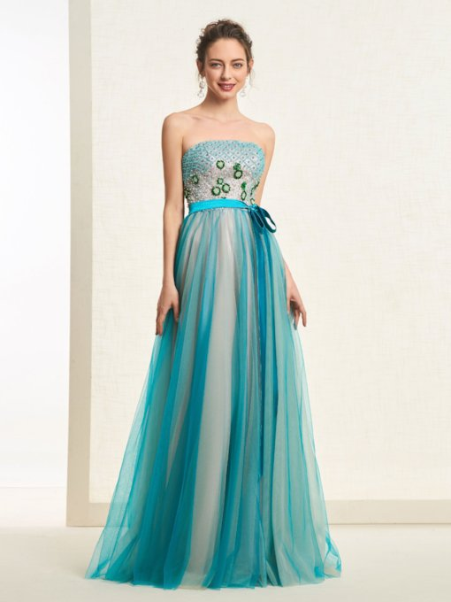 Sleeveless Floor-Length Flowers Strapless Evening Dress 2019