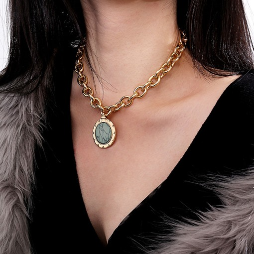 Exaggerated Natural Stone Pendant Punk Necklace