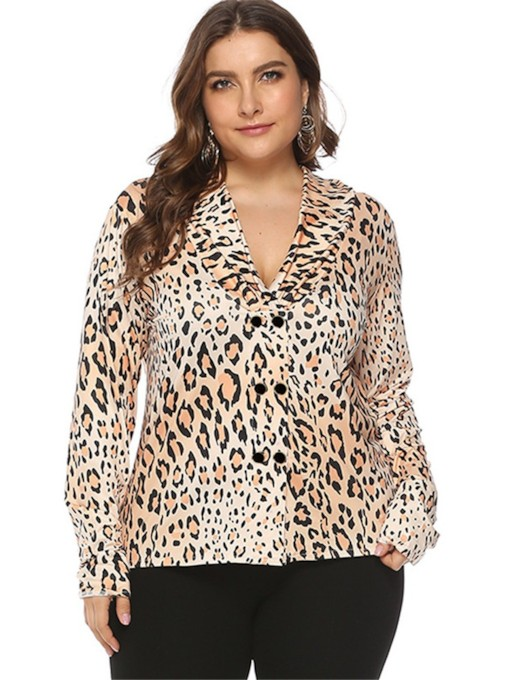 V-Neck Leopard Mid-Length Plus Size Women's Blouse