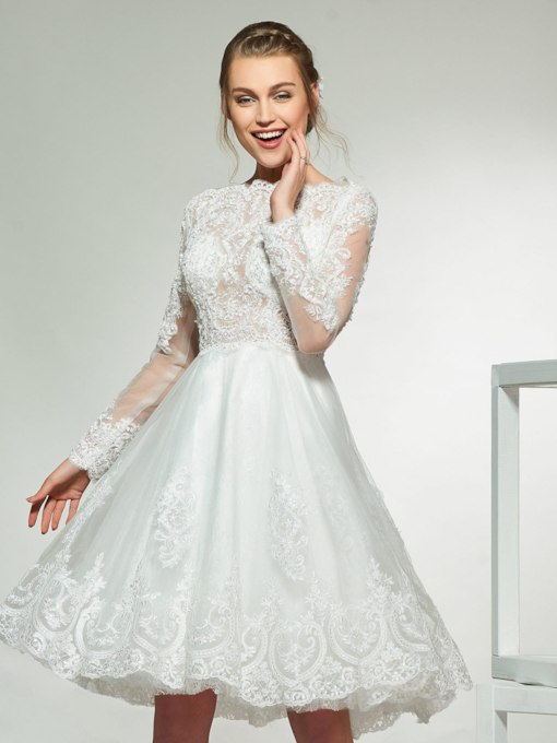 Knee-Length Appliques Long Sleeve Beach Wedding Dress