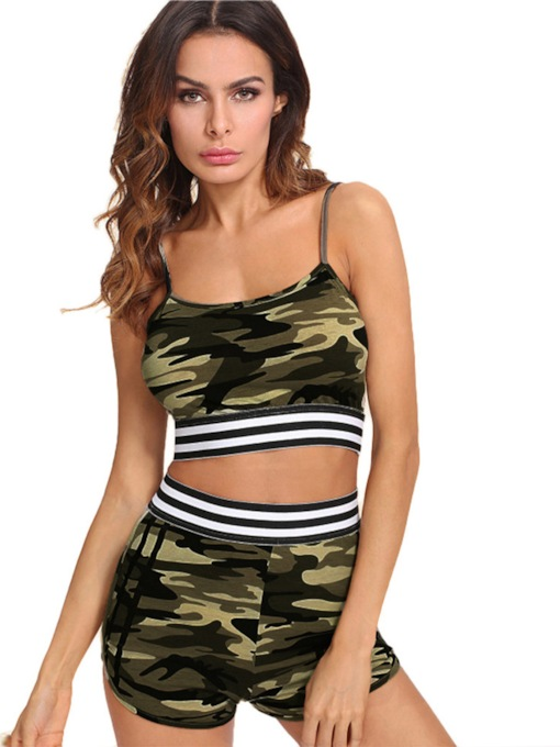 Two Pieces Workout Suit Breathable Camouflage Print Pullover Short Women's Sports Set