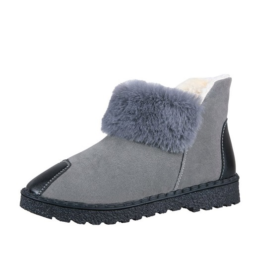 Slip-On Plain Round Toe Block Heel Platform Women's Snow Boots