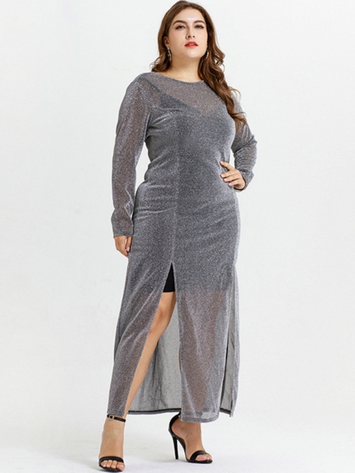 Plus Size Patchwork Long Sleeve Split Women's Maxi Dress