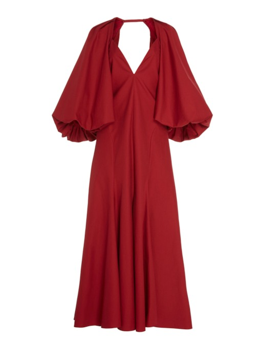 V-Neck Long Sleeve Zipper Women's Maxi Dress