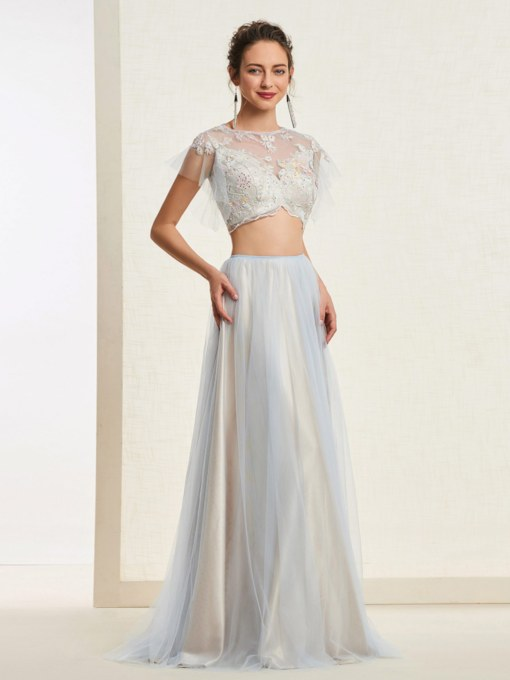 Scoop A-Line Floor-Length Short Sleeves Prom Dress 2019