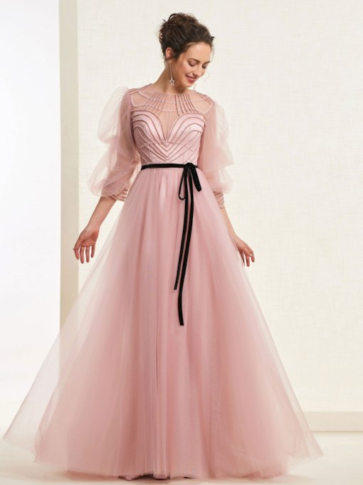 Beading Sashes Half Sleeves Prom Dress 2019