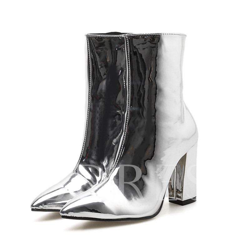 Plain Pointed Toe Chunky Heel Side Zipper Metallic Ankle Boots