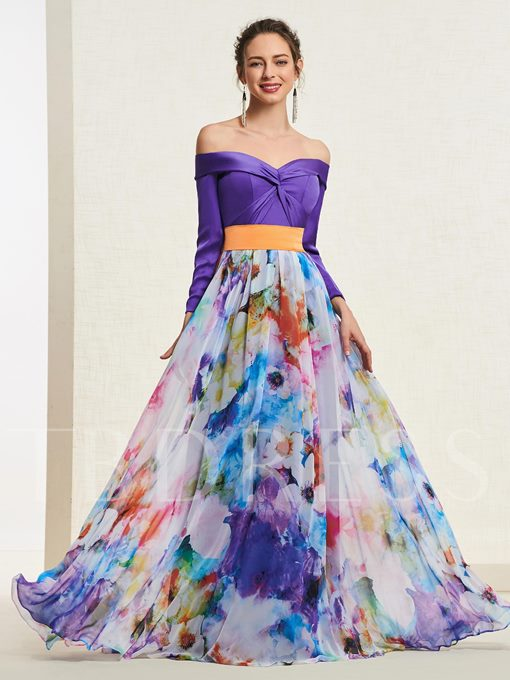 Long Sleeves Off-The-Shoulder A-Line Pick-Ups Prom Dress