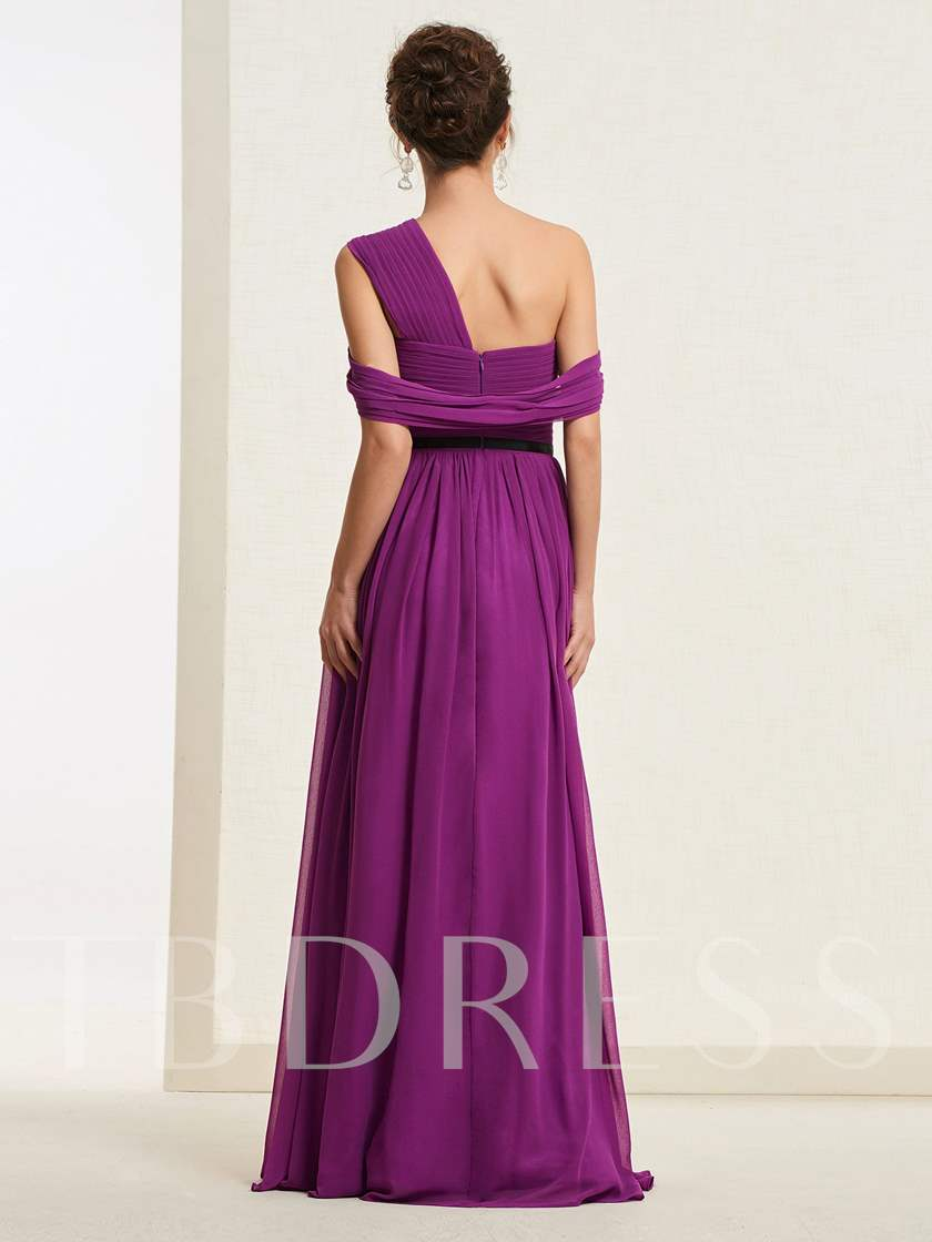 Floor-Length One Shoulder A-Line Prom Dress