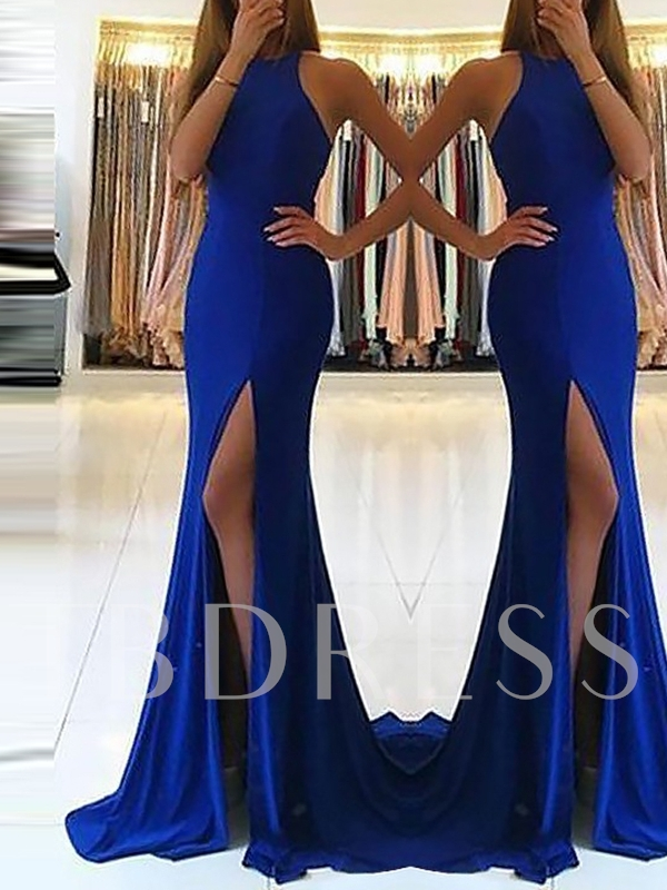 Split-Front Court Trumpet Jewel Evening Dress