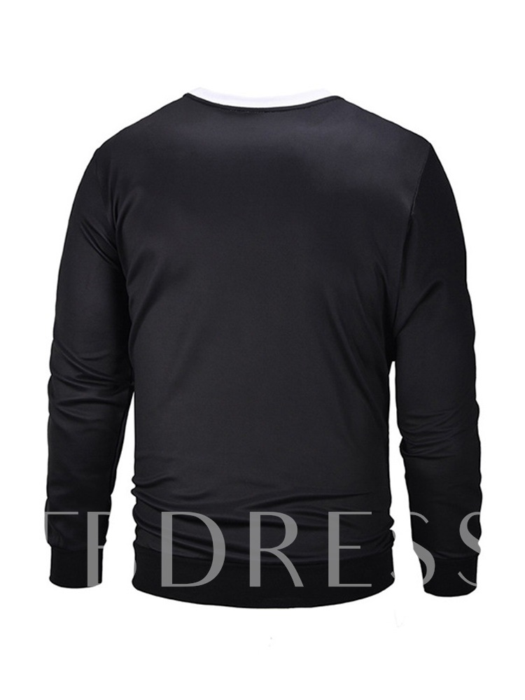 Round Neck Print Pullover Loose Men's Sweatshirt