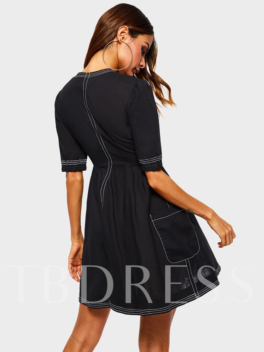 Short Sleeve Button Patchwork Plain Women's Day Dress