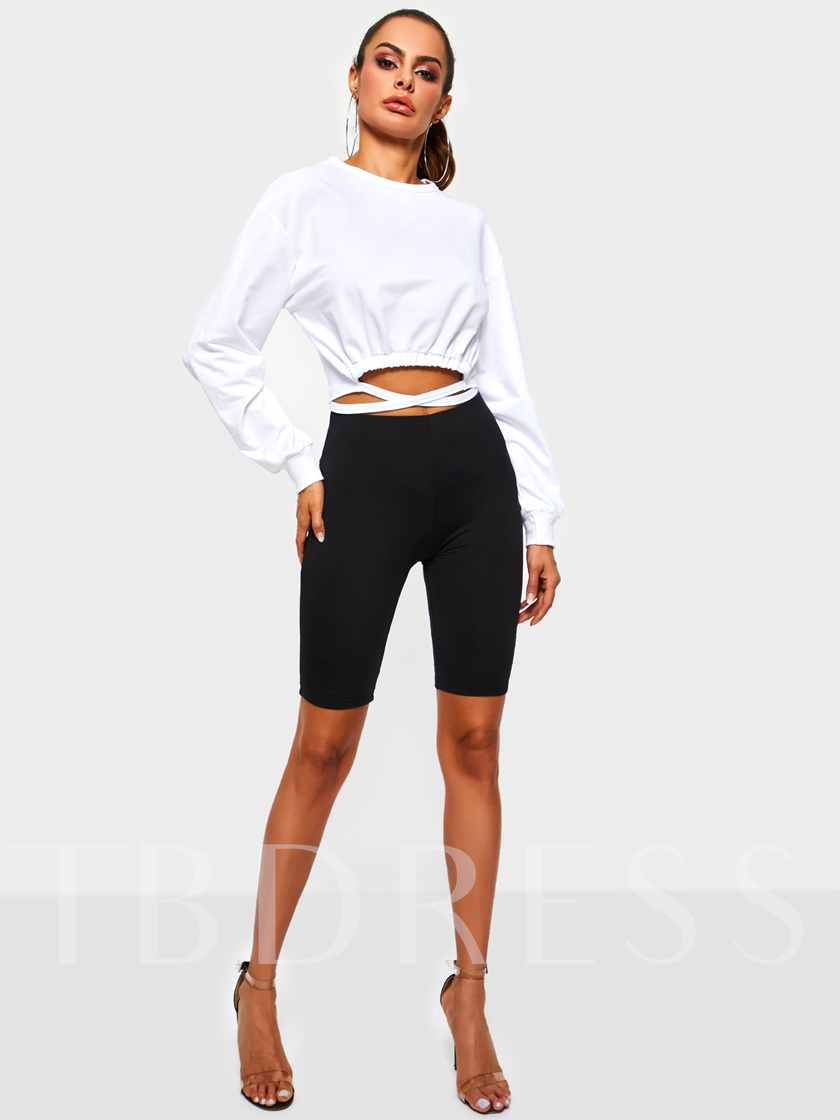 Lace-Up Plain Pullover Cropped Women's Sweatshirt