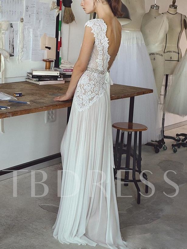 Cap Sleeve Beading Lace Beach Wedding Dress