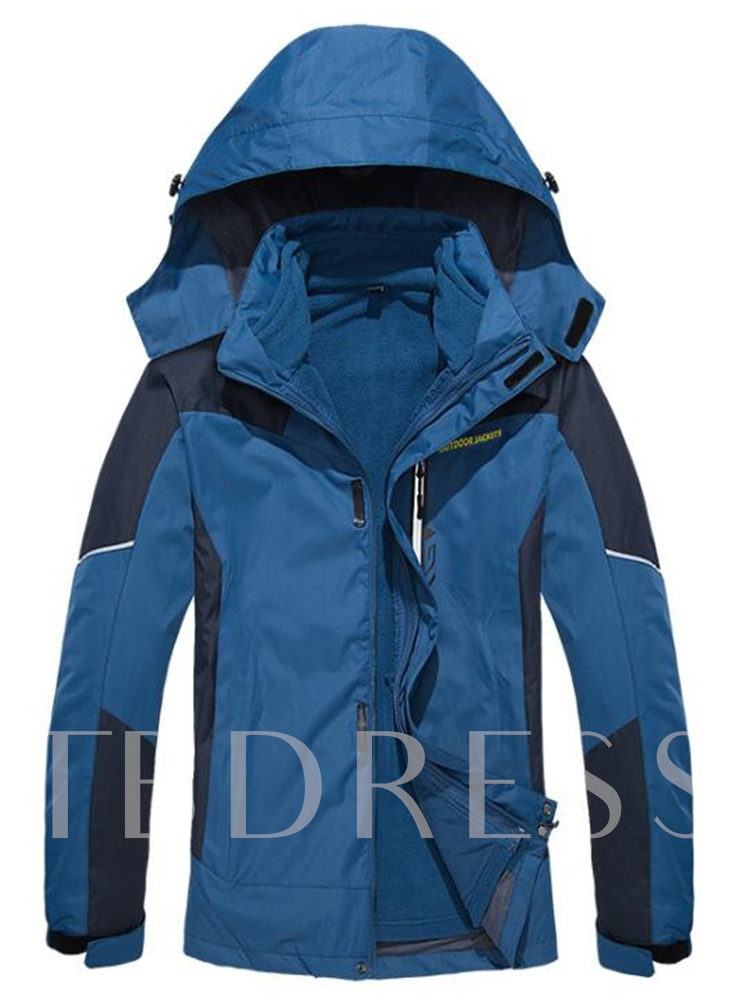 Stand Collar Color Block Patchwork Hooded Men's Jacket