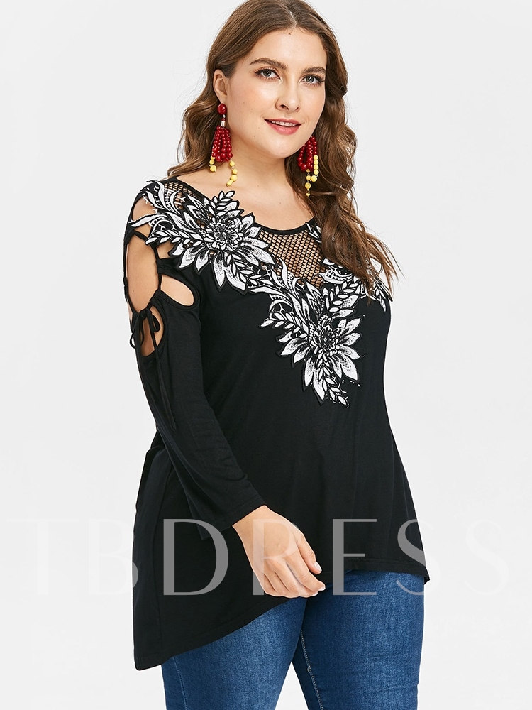 Hollow Floral Embroidery Plus Size Women's T-Shirt