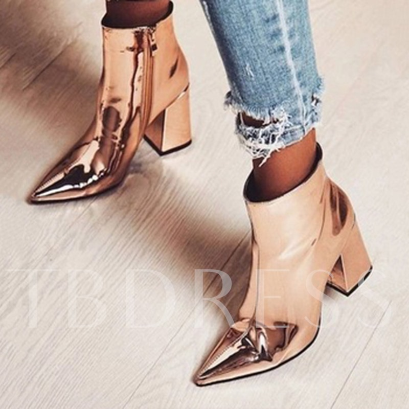 df20aed9c1d Plain Pointed Toe Chunky Heel Side Zipper Metallic Ankle Boots. Sold Out