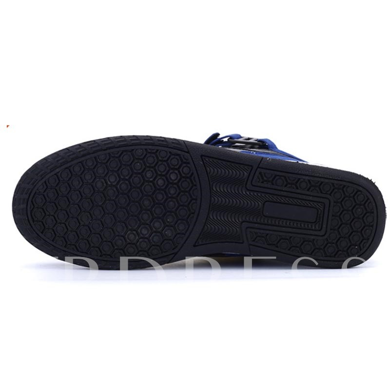 High-Cut Upper Patchwork Lace-Up Round Toe Skate Shoes for Men