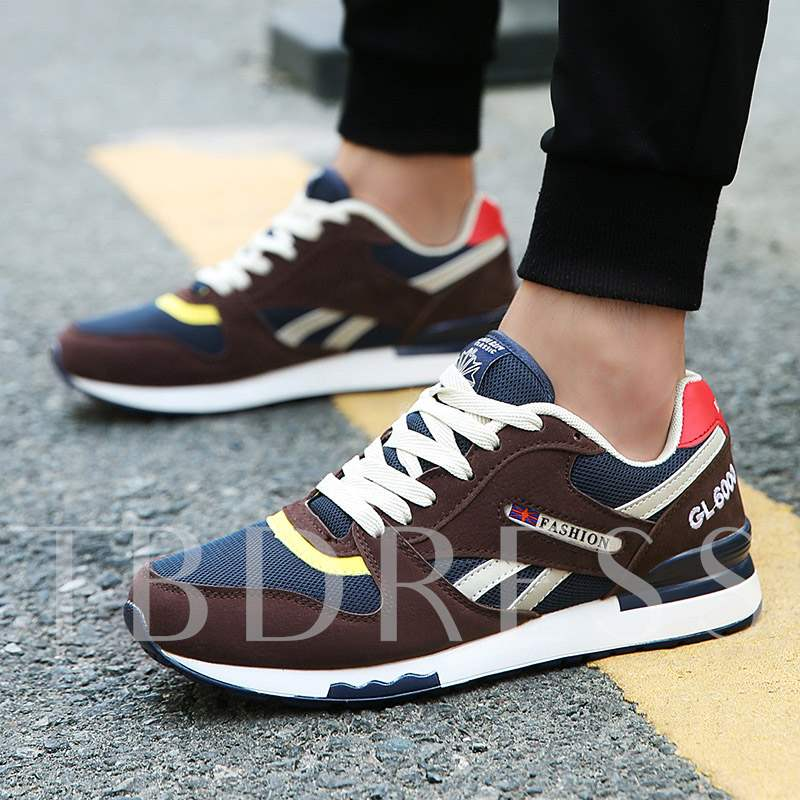 Low-Cut Upper Patchwork, Lace-Up Round Toe Men's Sneakers