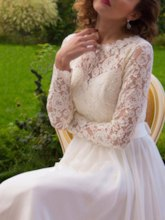 Button Scoop Neck Lace Beach Wedding Dress