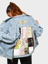 Worn Floral Embroidery Women's Denim Jacket