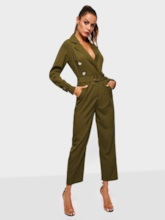 Plain Wear to Work Ankle Length Button Slim Women's Jumpsuits