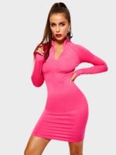 Long Sleeve Zipper Plain Women's Bodycon Dress