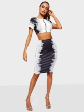 Date Night Color Block T-Shirt Bodycon Women's Two Piece Sets