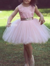 Sequins Bowknot Appliques Short Flower Girl Dress