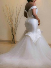 Off the Shoulder Beading Mermaid Plus Size Wedding Dress 2021