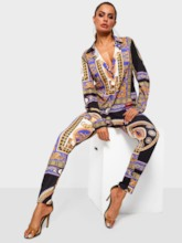 Color Block Print Straight Women's Two Piece Sets