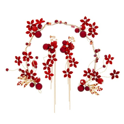 Sweet Red Floral Shape Earrings Hairband Wedding Jewelry Sets