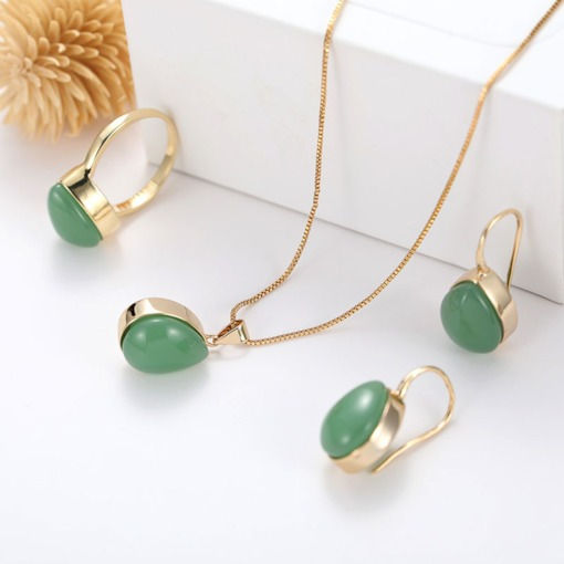 Vintage Water Drop Shape Emerald Party Jewelry Sets