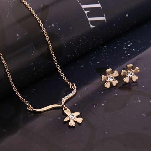 Floral Shape 3-Piece Party Jewelry Sets(Include Earrings,Necklace,Bangle)