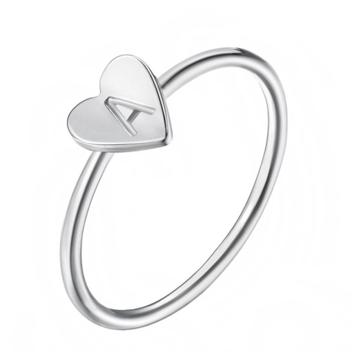 Concise Letter Decorated Silver Plated Ring