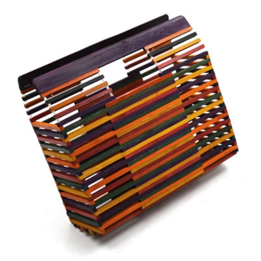 Knitted Rectangle Rainbow Tote Bamboo Bags