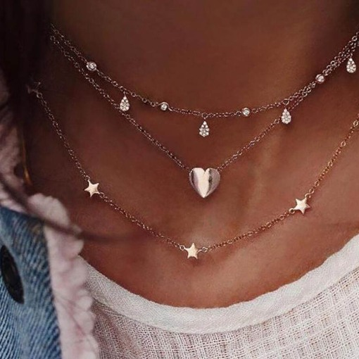 Star Shape Link Chain Layered Necklace